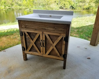 Rustic Barn Door Bathroom Vanity - Low Shipping - Farmhouse Vanity