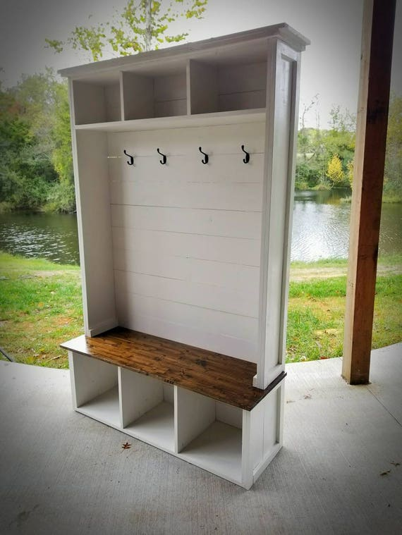 Hall Tree With Bench And Storage Low Shipping Farmhouse Etsy