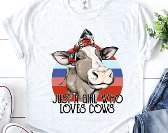 81a0fead Just A Girl Who Loves Cows Shirt/ Funny Cow Shirt/ Kids Cow Shirt/