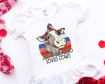 7489f39d Just A Girl That Loves Cows Shirt/ Toddler Cow Shirt/ Funny Toddler Cow  Shirt