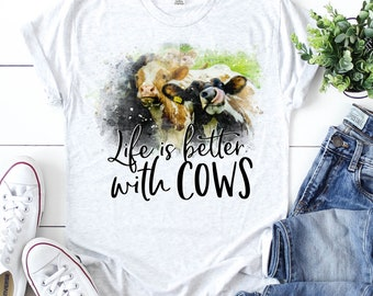 fcb5b7b8 Life Is Better With Cows Kids and Ladies Shirt/ Funny Cow Shirt/ Cow Shirt