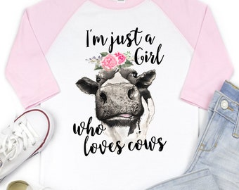I M Just A Girl Who Loves Cows Flower Short Sleeves T-Shirt Baby Boys