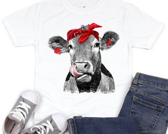 c6f3bf31f Cow Kisses kids Shirt, Cow Shirt, Licking Cow, Cow Lover, Funny Cow, Infant  Cow, Cow With Bandanna, Farm, Country, Girls, Kids Cow Shirt