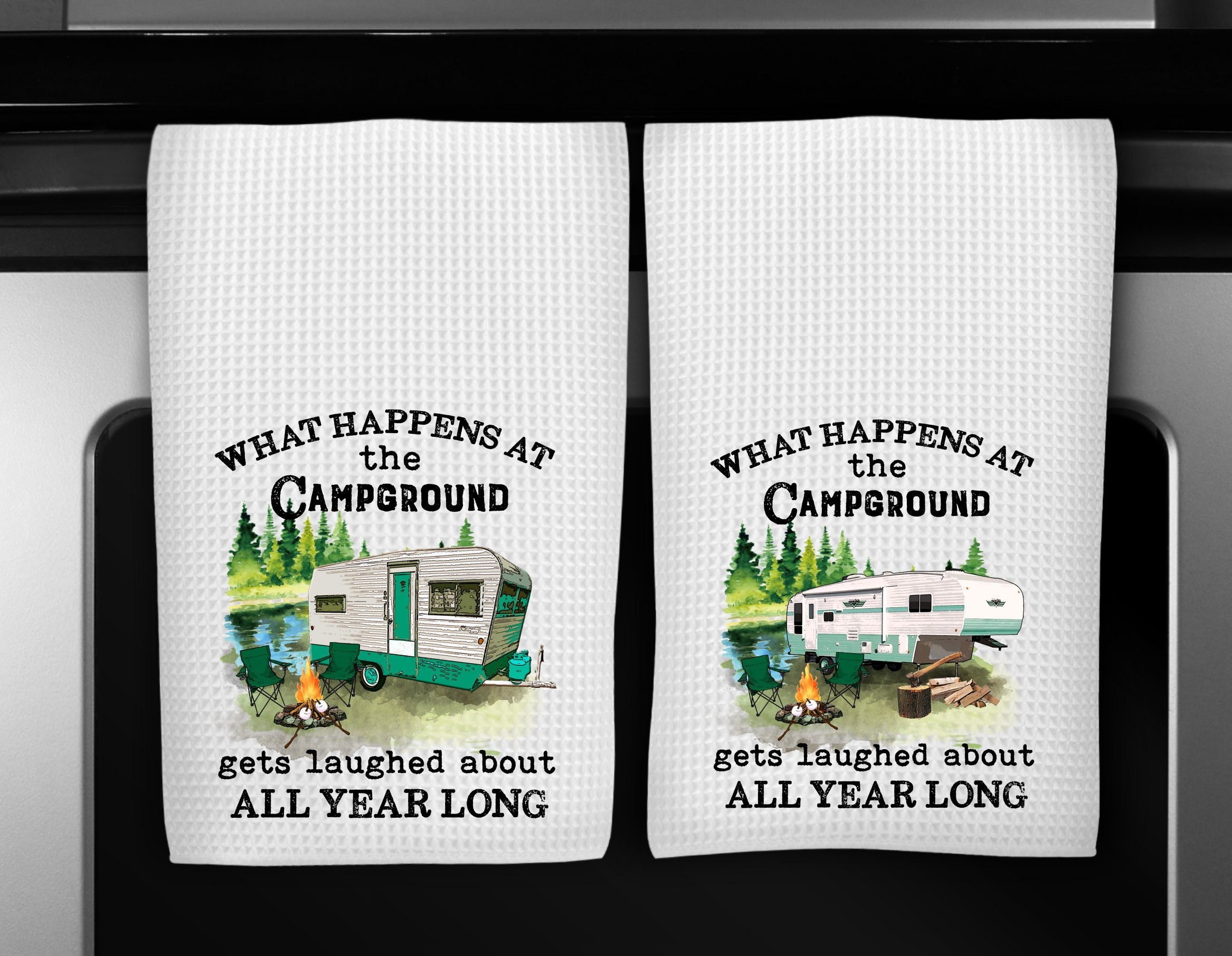 Camping Dish Towels, Funny Kitchen Towels, Kitchen Decor ...