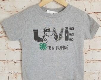 4-H Milk Cow Love In Training, cow shirt, farmer shirt, cow lover gift, farmer gift, 4-H shirt, Milk Cow shirt, Toddler Cow Shirt