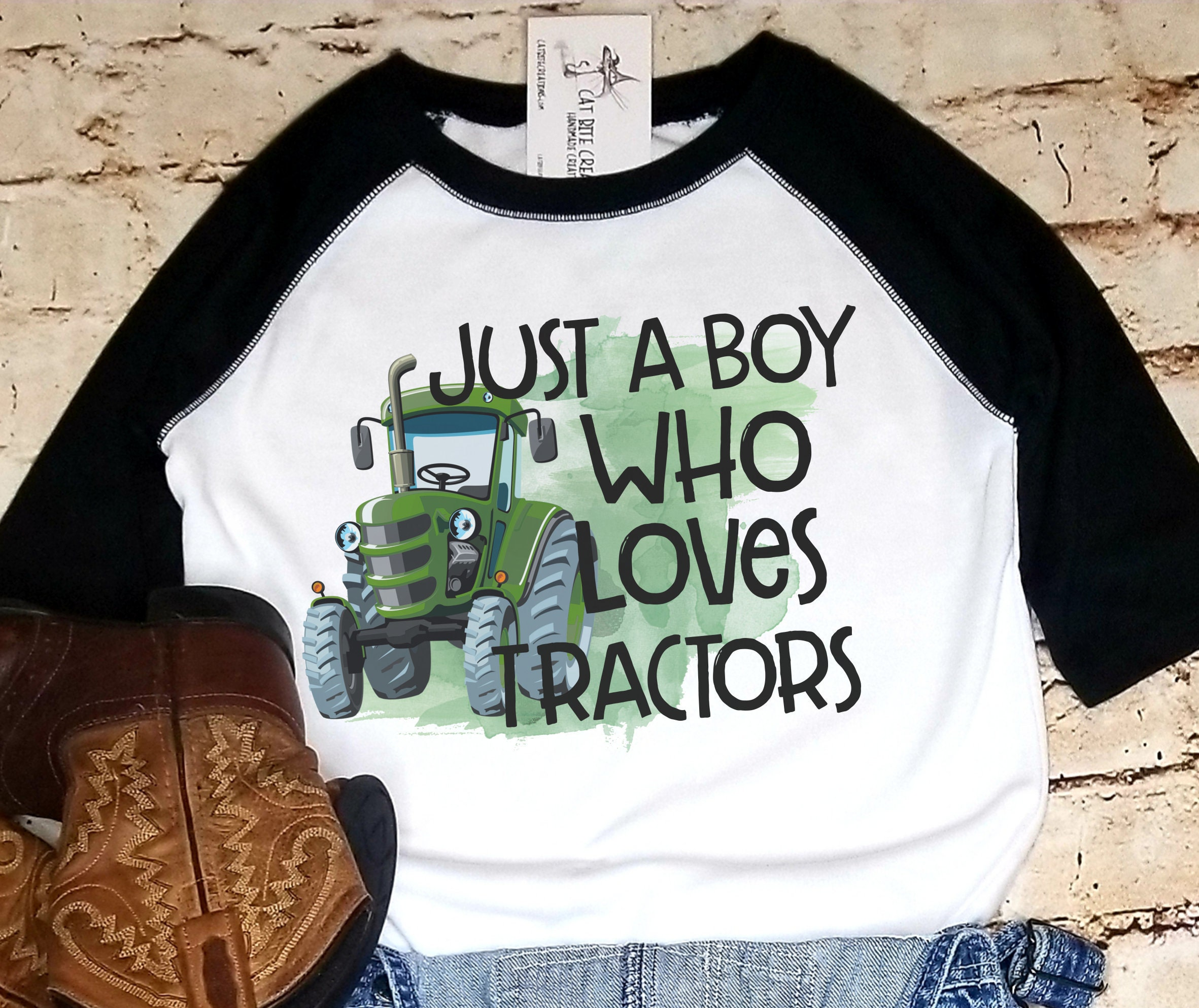 Just A Boy Who Loves Tractors Tractor Shirt Green Tractor Etsy