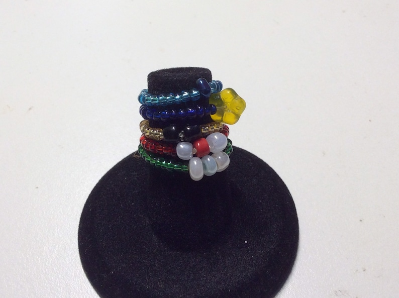 gold red beaded foot jewelry blue green turquoise toe rings Set of 5 seed bead stretch toe rings stretch rings