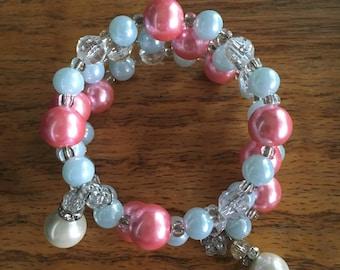 Boho Sistas Exclusive, Triple wrap memory wire pearl and crystal beaded bracelet