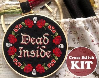 Dead Inside Cross Stitch KIT -Modern Cross Stitch Kit -Beginner Cross Stitch Kit -Funny Cross Stitch Kit -Floral Cross Stitch Kit Subversive