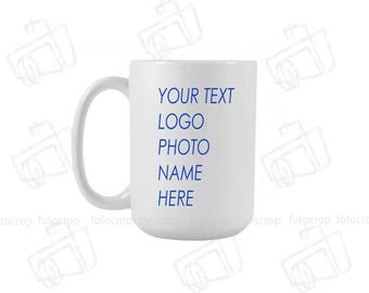 White Coffee Mug 15oz Custom photo name text logo personalized gift new Ceramic