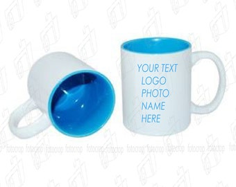 Personalized Coffee Mug Two Tone Baby Blue 11oz Cup Custom Photo Text Logo