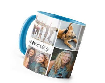Personalized Coffee Mug baby Blue  Handle 11oz Collage Custom Photo Text Logo Gift New