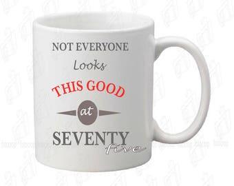 Coffee Mug Happy Birthday 75th Personalized Original Gift Women Men 11oz NEW!
