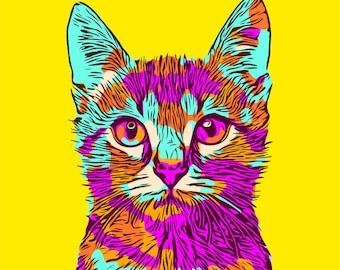 pop art cat etsy