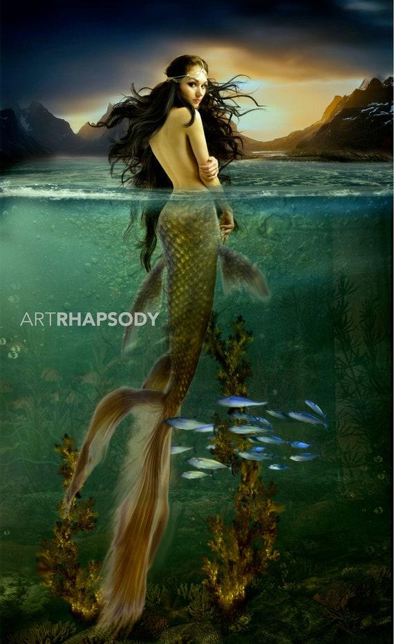 Realistic mermaid transformation custom mermaid fairytale art etsy - Image de sirene h2o ...