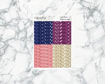 Let's Travel Glitter Headers, planner stickers