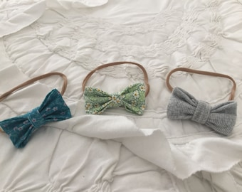 Fabric Hair Bows for Infants on Soft Nylon Band