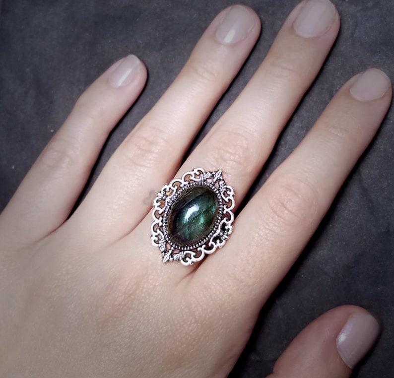Adjustable Silver Ring Labradorite Cameo Ring