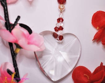 CRYSTAL SUNCATCHER 40mm clear heart pendant with clear heart and red crystal beads