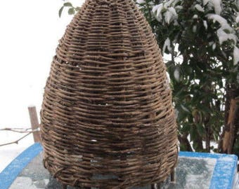 Old antique primitive hand made bee swarm beeskeep bee hive