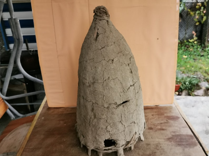Old antique primitive hand made bee swarm beeskep bee hive
