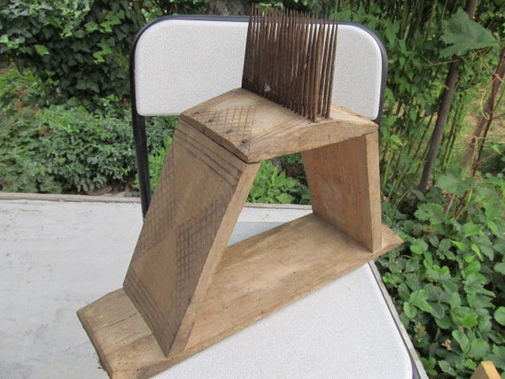 HAND CARVED WOODEN CARDER COMB FOR WOOL YARN COMBER