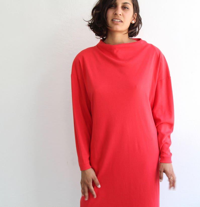 Mod Snuggle Dress Red Sweater Bat Sleeve 70s 80s small xs petite cotton Twiggy retro batsleeve turtleneck dress
