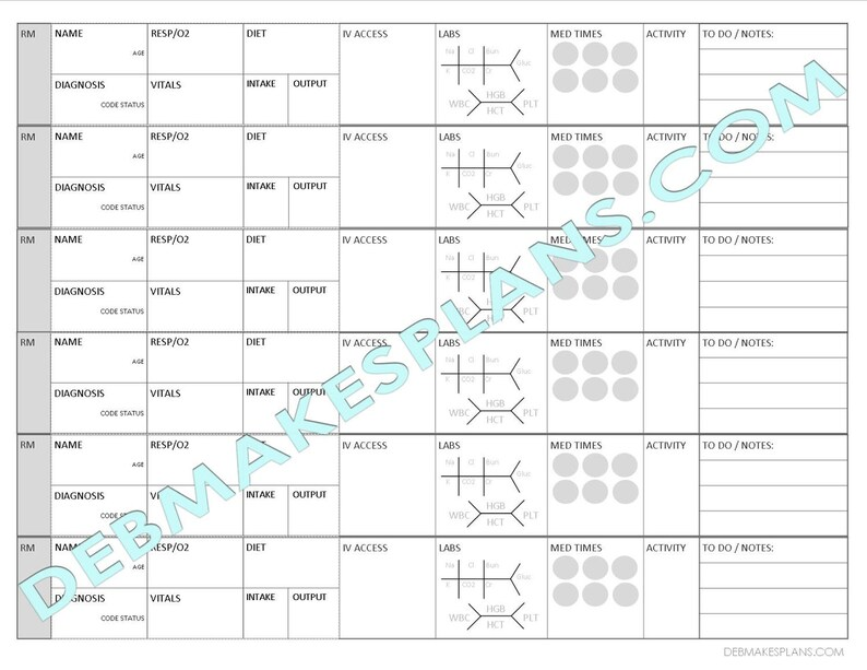 image about Printable Assignment Sheet known as Nurse Assignment Sheet Printable