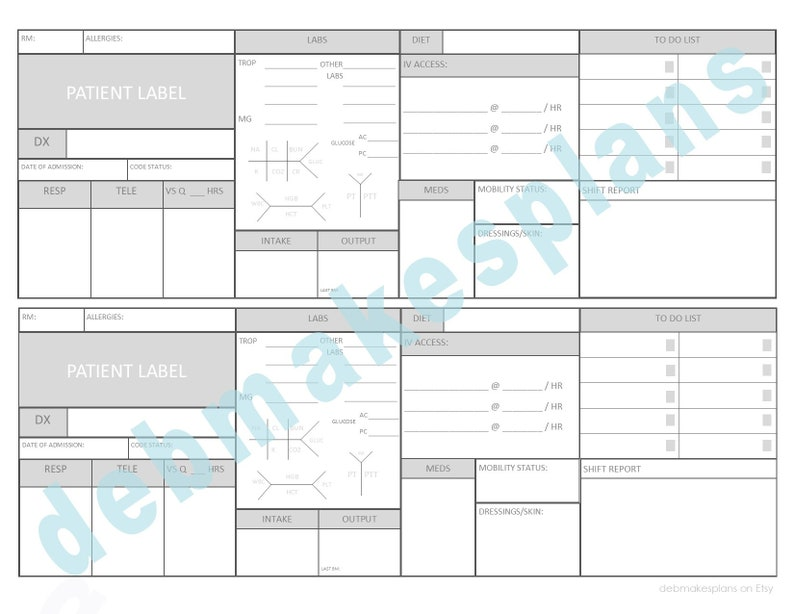 photo relating to Printable Assignment Sheet identified as Nurse Assignment Sheet Printable - 2 Client ICU