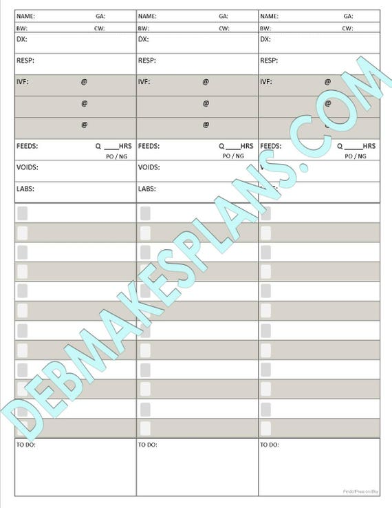 image relating to Printable Assignment Sheet called Nurse Assignment Sheet Printable