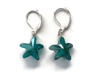 Starfish Earrings, Aqua Starfish Earrings, Mothers Day Gift, Starfish Jewelry, Beach Jewelry, Summer Jewelry, Blue, Boho, Gift For Her