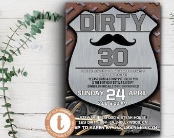 Dirty 30 Invitations Etsy