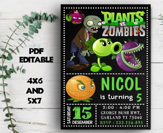 Editable Invitation Plants Vs Zombies Party Supplies Plants Vs Zombies Invitation Plants Vs Zombies Birthday Plants Vs Zombies Party