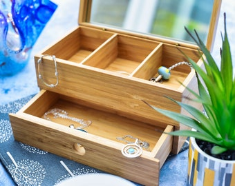 Personalised Bamboo Jewellery Box, 5th Anniversary Gift, Message on Gift Box, Makeup Box, Keepsake