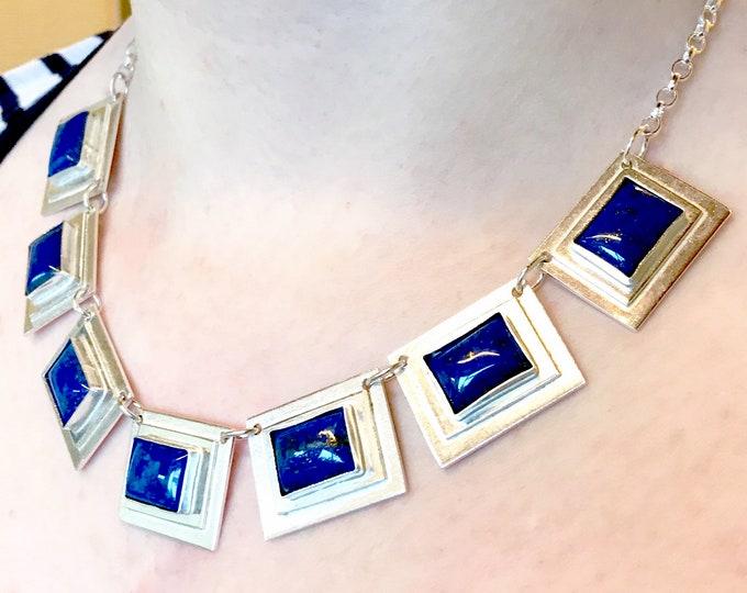 Lapis Lazuli Art Deco Style Necklace