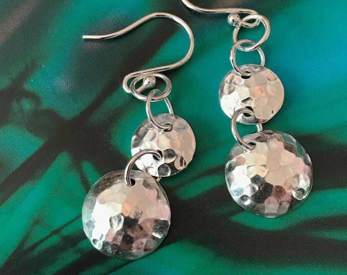 Dimpled Disc Drop Earrings