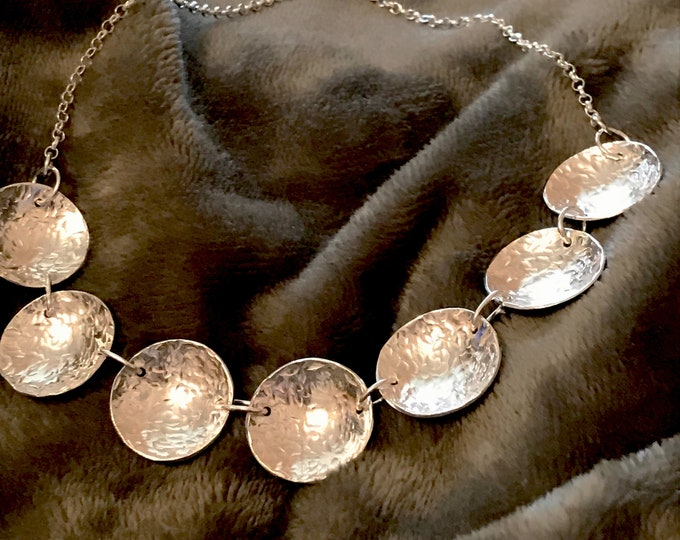 Textured Concave Disc Necklace