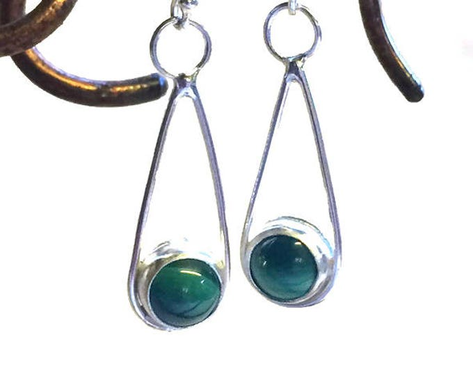 Malachite Loop Drop Earrings (Choice of Stones)