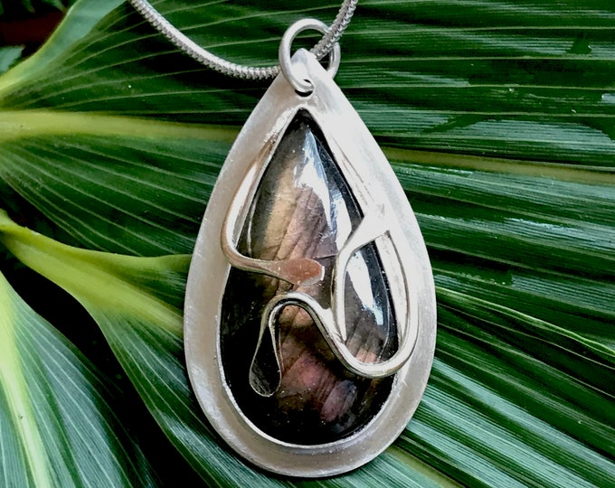 Labradorite Sterling Silver Pendant with 9 Carat Gold Overlay