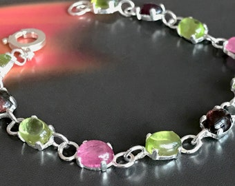 Peridot and Tourmaline Stone Set Bracelet