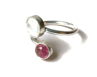 Faceted Rainbow Moonstone and  Pink Tourmaline Adjustable Ring