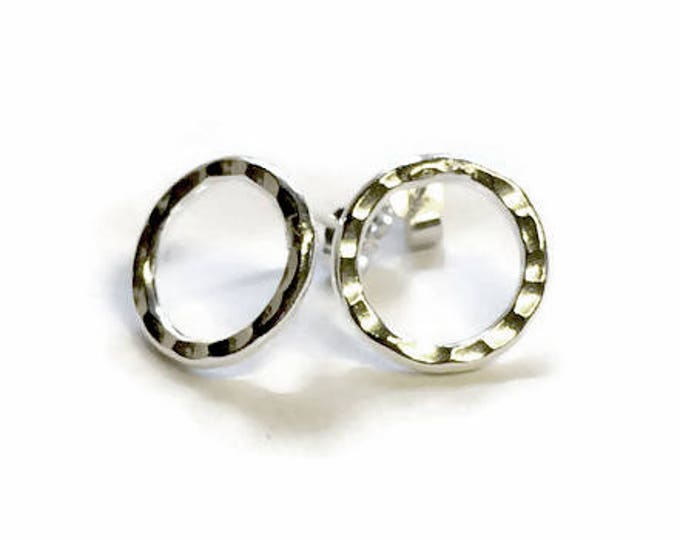 Hammered Ring Stud Earrings