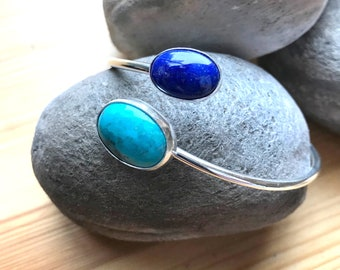 Lapis Lazuli & Turquoise Adjustable Bangle