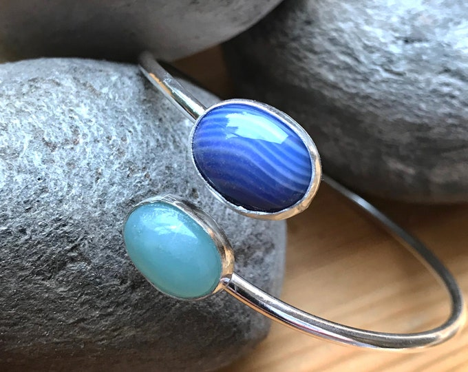 Amazonite and Blue Banded Agate Adjustable Bangle
