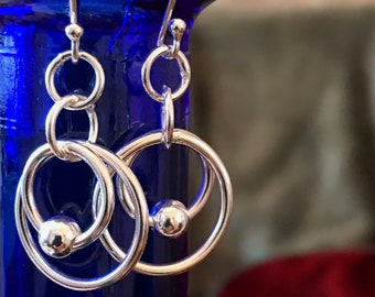 Puzzle Ring Drop Earrings