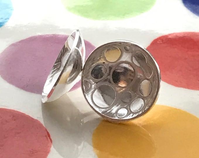 Etched Polka Dot Stud Earrings