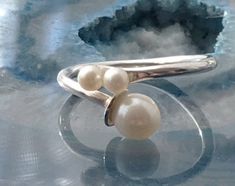 Triple Freshwater Pearl Adjustable Ring