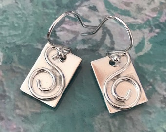 Abstract Swirl Rectangular Drop Earrings
