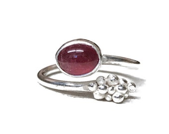 Pink Tourmaline and Silver Cluster Adjustable Ring