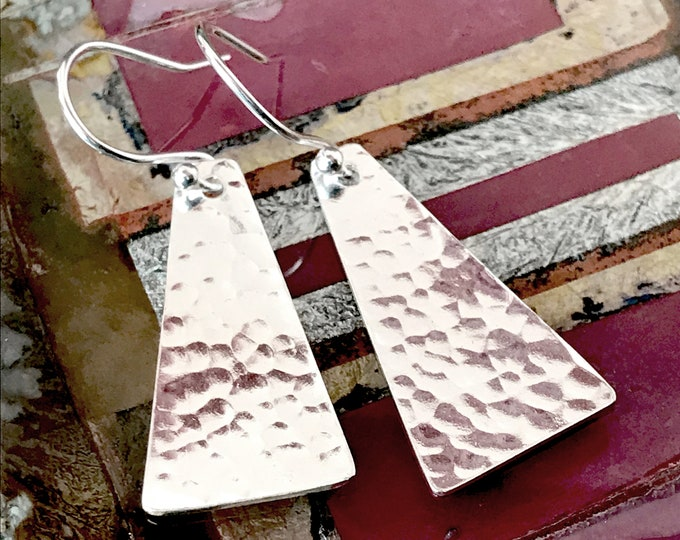 Hammered Panel Drop Earrings